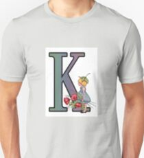 Initial K, Alphabet Letter, Girl with Poppies, Color Pencil Art T-Shirt