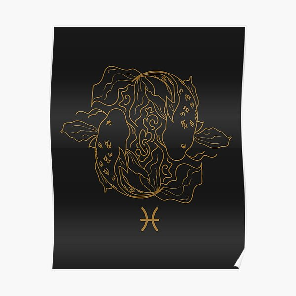 Pisces Fish - BLACK AND GOLD Poster