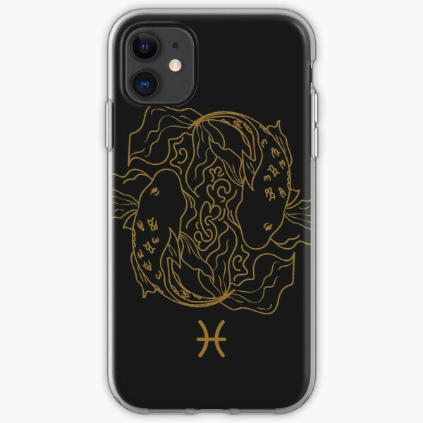 Pisces Fish - BLACK AND GOLD iPhone Soft Case