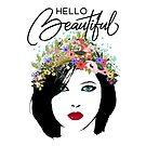 Hallo schöne Modekunstfrau und Blumenkrone von Glimmersmith