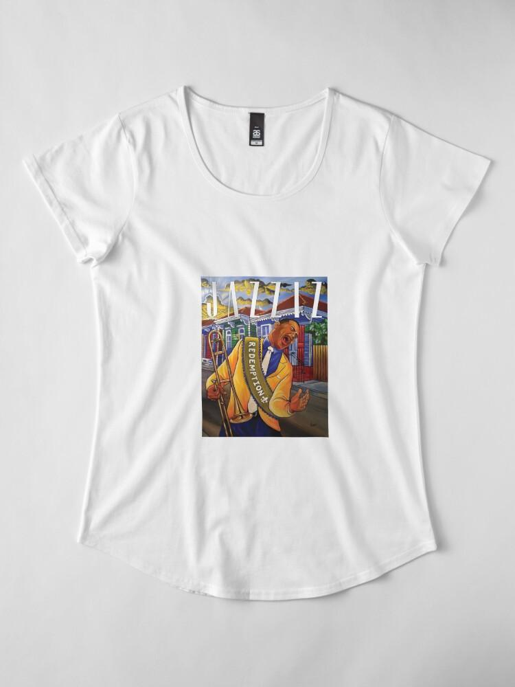 """Alternate view of JAZZIZ """"Redemption"""" Premium Scoop T-Shirt"""