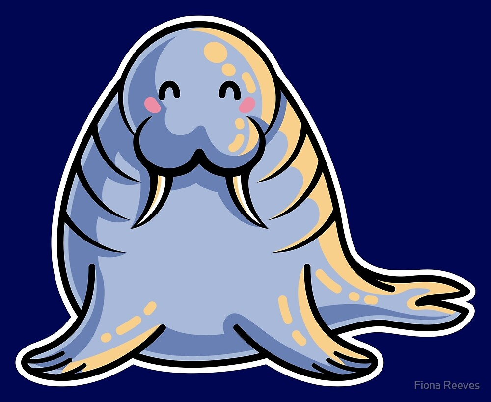 Kawaii Cute Walrus by Fiona Reeves