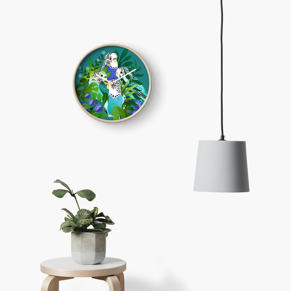 Budgie bouquet Clock