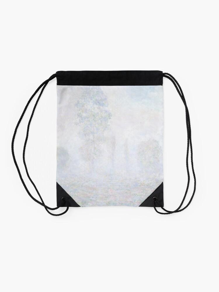 Alternate view of Morning Haze by Claude Monet Drawstring Bag