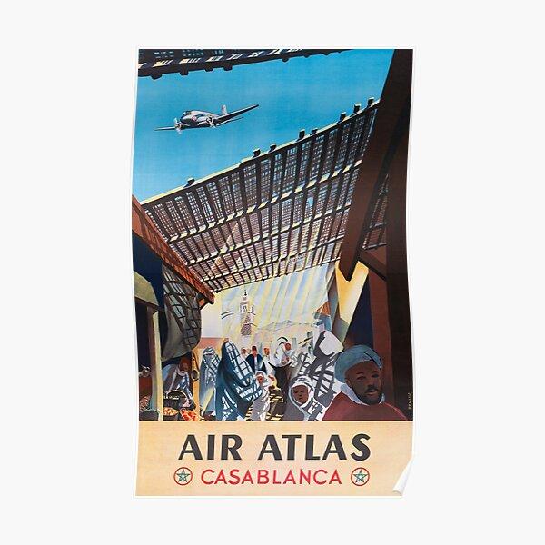 Casablanca - Vintage Air Atlas Airline Poster Poster