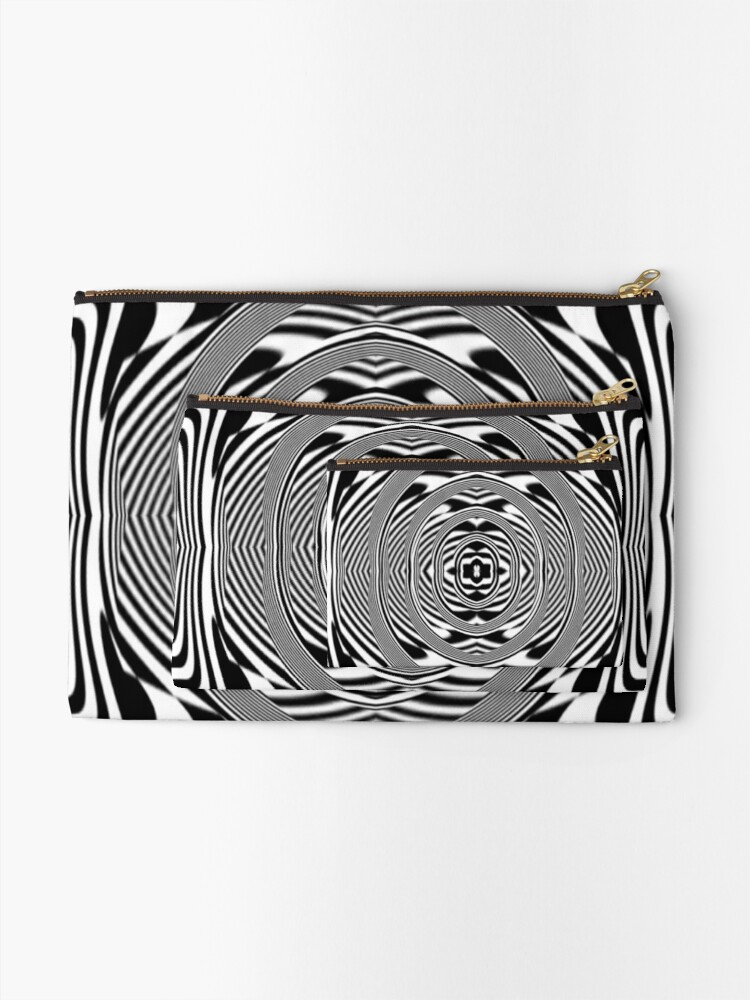 Alternate view of #OpArt, #visual #illusion, #VisualArt, opticalart, opticalillusion, opticalillusionart, opticalartillusion, psyhodelic, psichodelic, psyhodelicart Zipper Pouch