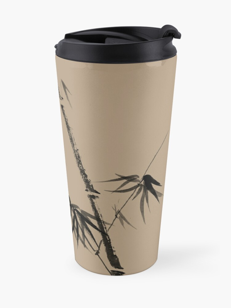 Alternate view of Bamboo stalk with young leaves minimalistic Sumi-e Japanese Zen painting artwork art print Travel Mug