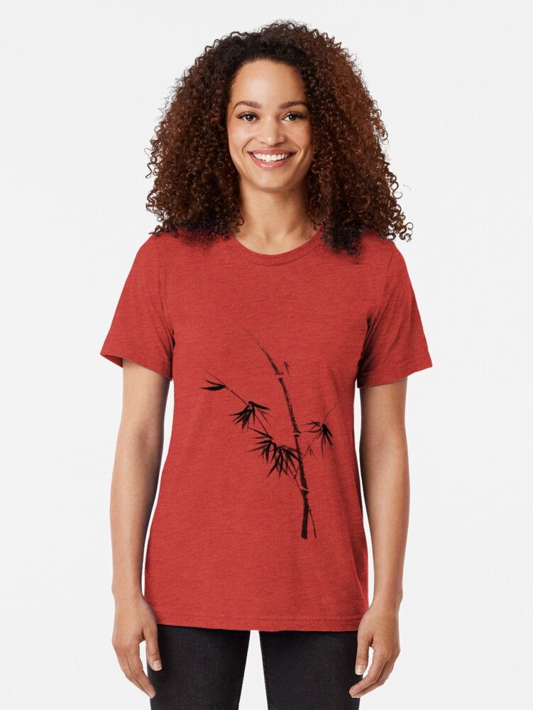 Alternate view of Bamboo stalk with young leaves minimalistic Sumi-e Japanese Zen painting artwork art print Tri-blend T-Shirt