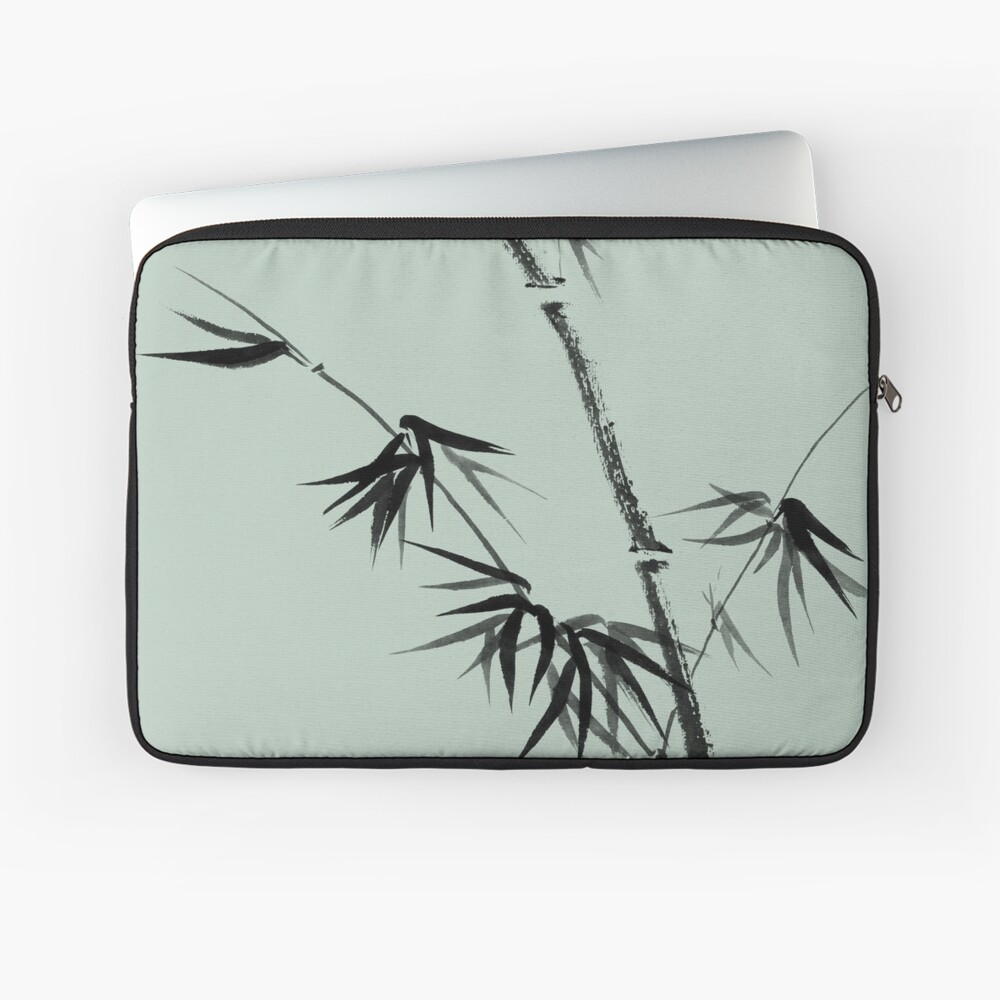 Bamboo stalk with young leaves minimalistic Sumi-e Japanese Zen painting artwork art print Laptop Sleeve