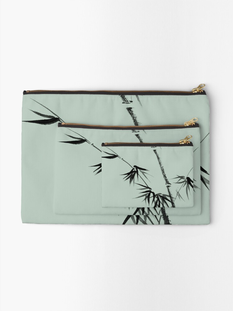 Alternate view of Bamboo stalk with young leaves minimalistic Sumi-e Japanese Zen painting artwork art print Zipper Pouch