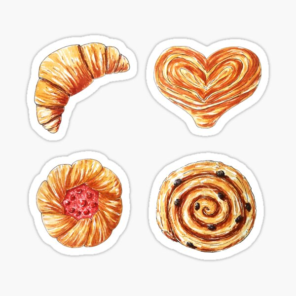 watercolor bakery products Sticker