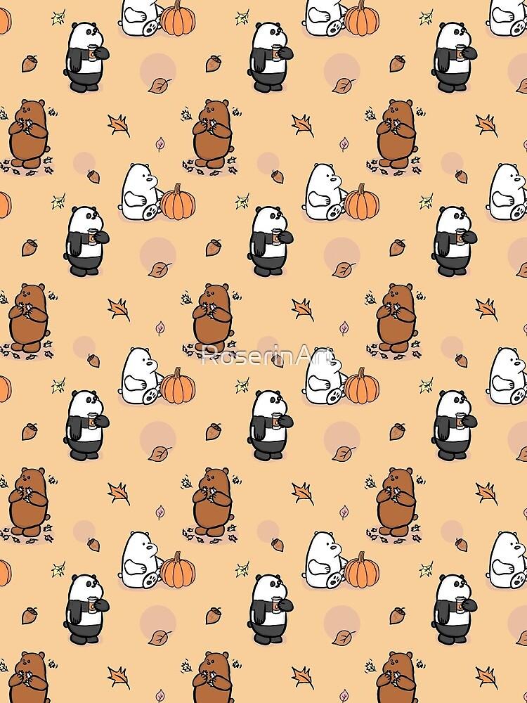 We Bare Bears Autumn Pattern by RoserinArt