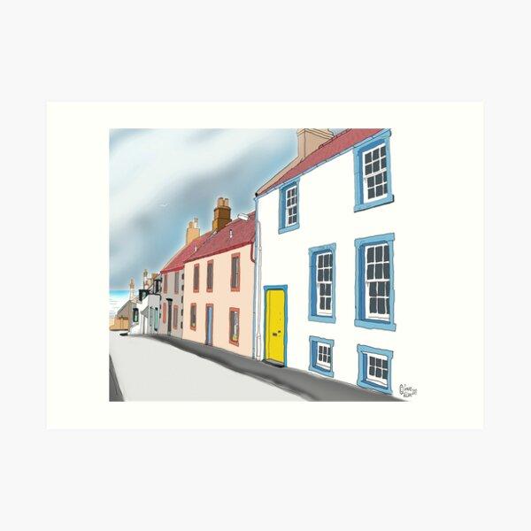 Elie: School Wynd. Line Drawing of Street in Fife, Scotland. Art Print
