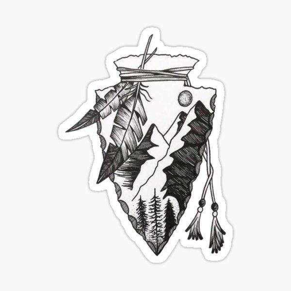 American Indian Arrowhead Projectile  Sticker
