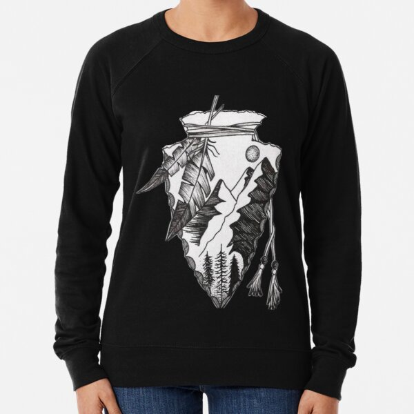 American Indian Arrowhead Projectile  Lightweight Sweatshirt
