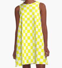 Bright Fluorescent Yellow Neon and White Checked Checkerboard A-Line Dress
