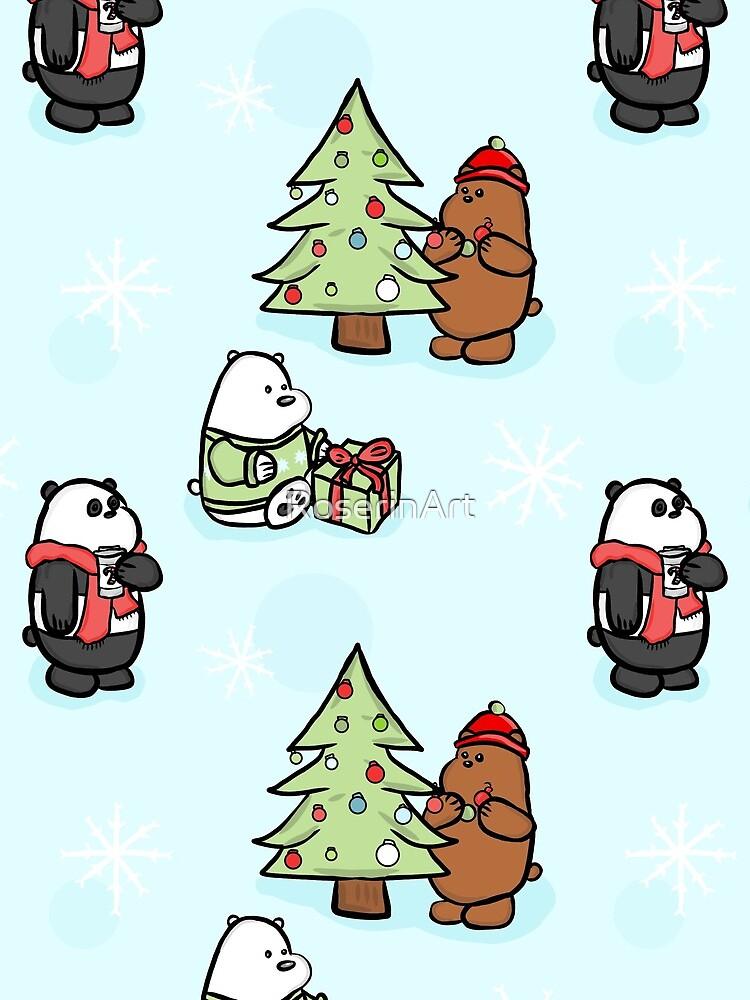 We Bare Bears Christmas Pattern by RoserinArt