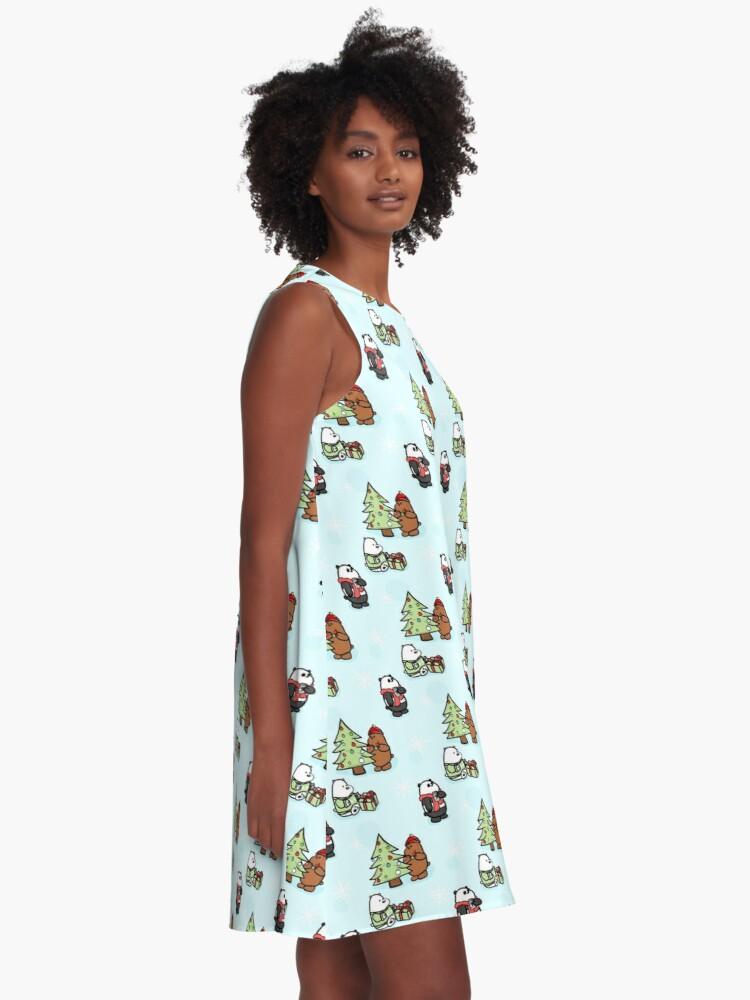 Alternate view of We Bare Bears Christmas Pattern A-Line Dress