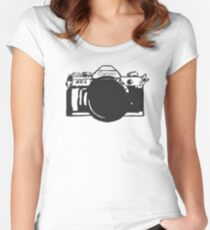 Canon AE-1 black and White Women's Fitted Scoop T-Shirt