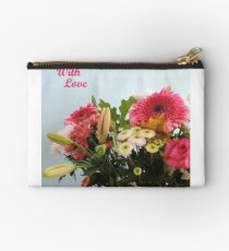 Fuchsia, White & Teal With Love Studio Pouch