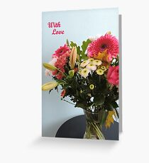 Fuchsia, White & Teal With Love Greeting Card
