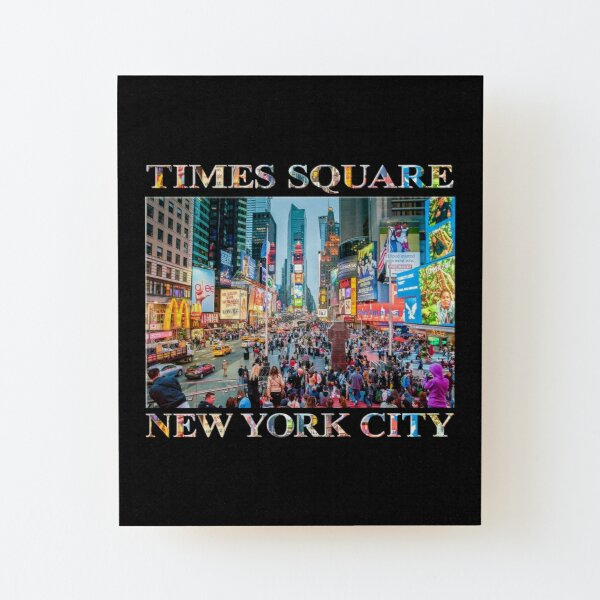 Times Square Tourists (poster on black) Wood Mounted Print