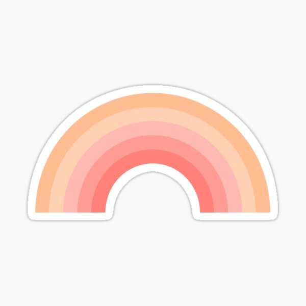 Peach Pink Rainbow Sticker