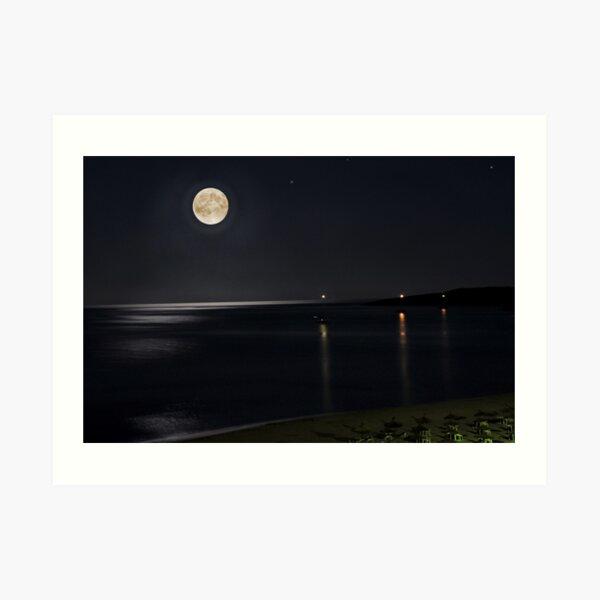 Full Moon over Cala Millor Art Print