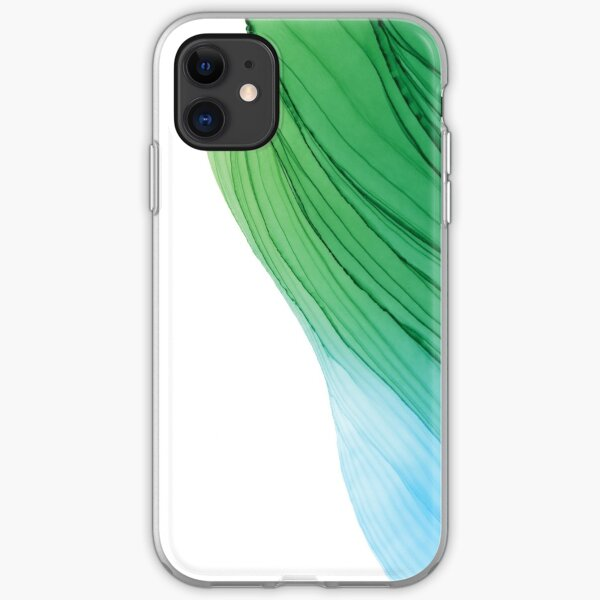 Emerald and Pool Ripples Alcohol Ink Painting iPhone Soft Case