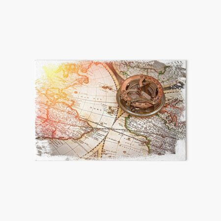 old map and compass , navigation and geography  Art Board Print