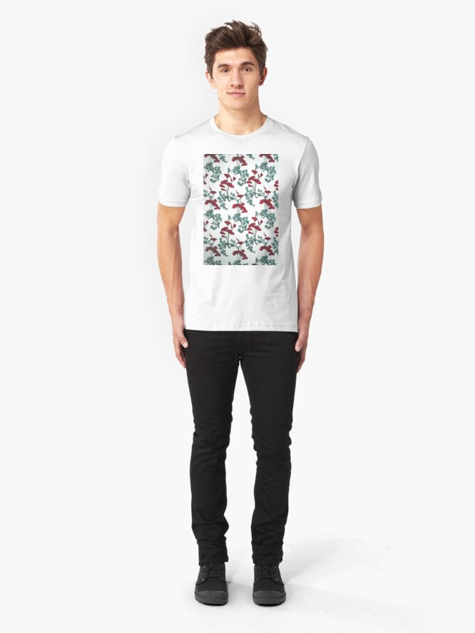 Alternate view of Red Poppies Vintage Victorian Wallpaper Slim Fit T-Shirt