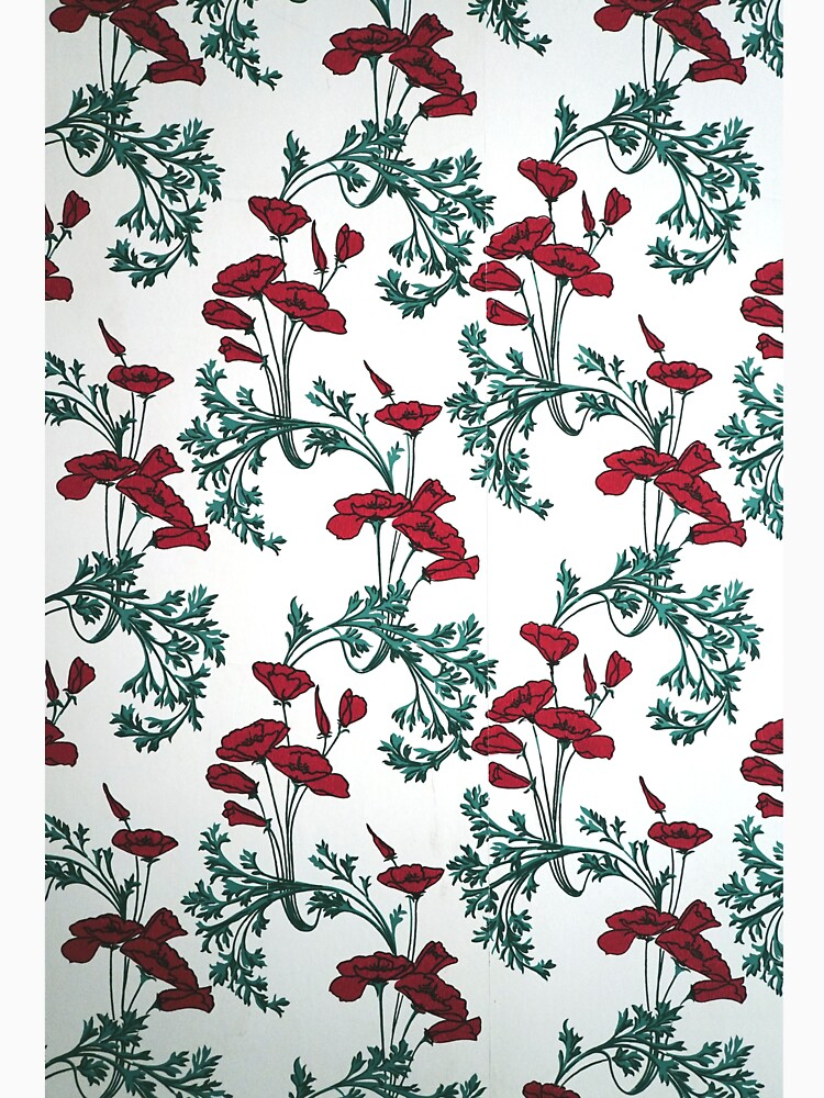 Red Poppies Vintage Victorian Wallpaper by douglasewelch