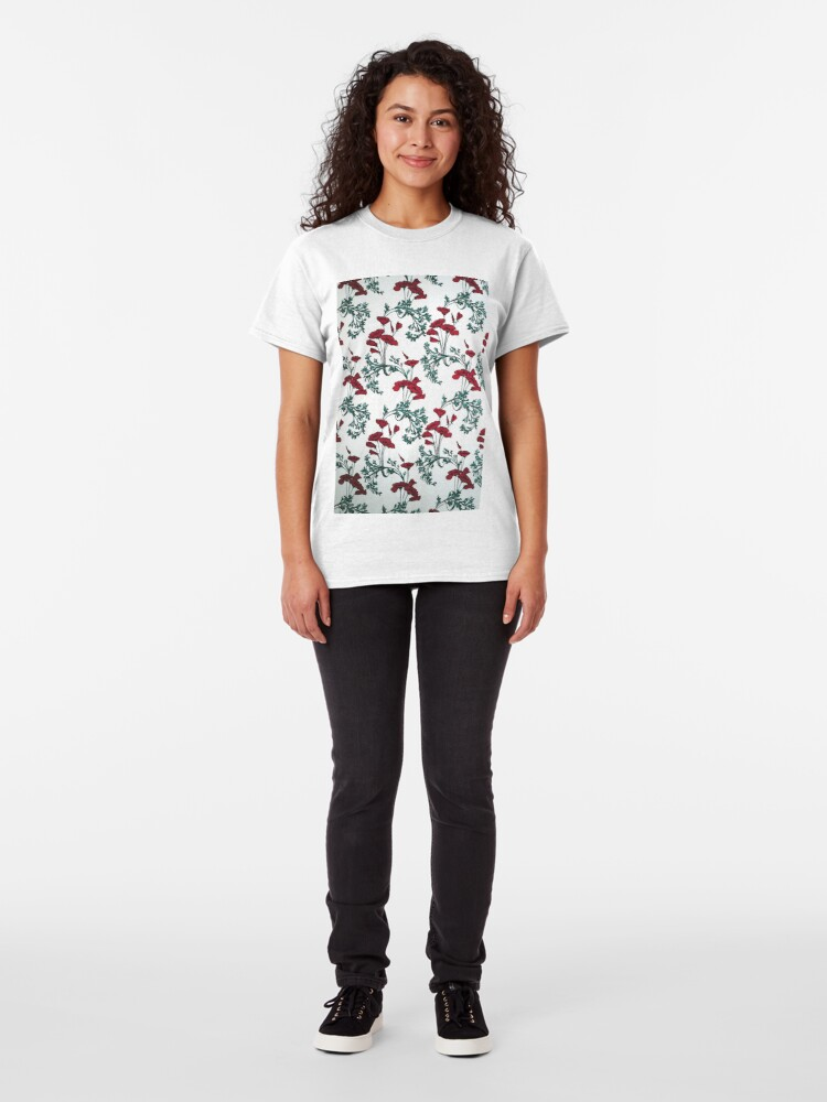 Alternate view of Red Poppies Vintage Victorian Wallpaper Classic T-Shirt