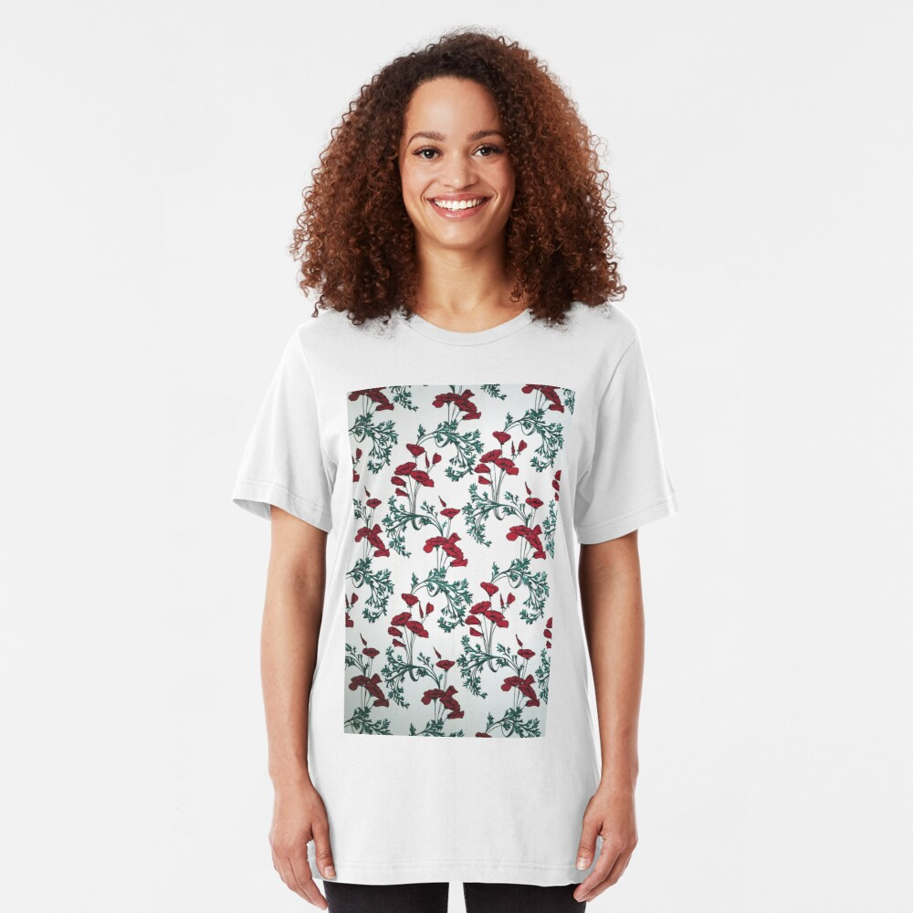 Red Poppies Vintage Victorian Wallpaper Slim Fit T-Shirt