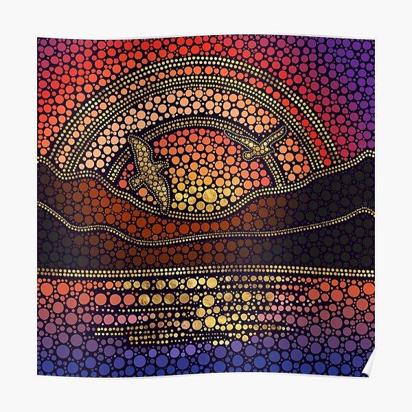 Dot Art Sunset Landscape Poster