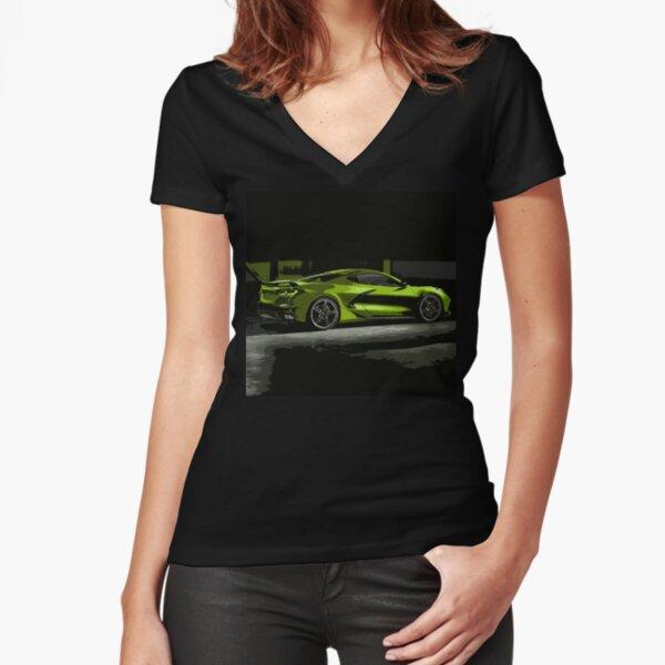 Chevrolet Corvette C8 Fitted V-Neck T-Shirt