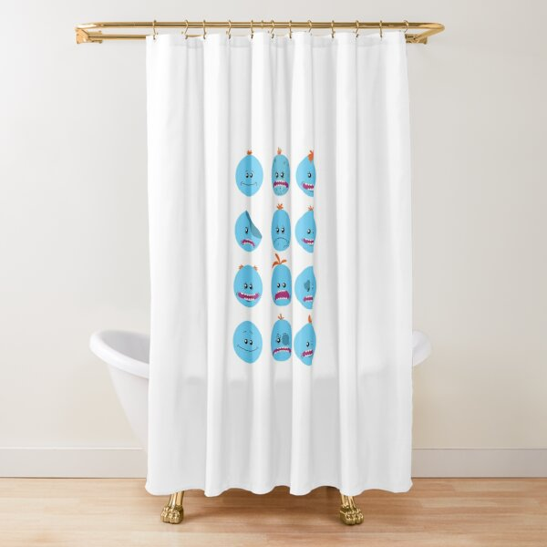 The Many Faces Of Meeseeks Shower Curtain