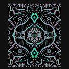 Grey Mint Black Bohemian Mandala Arabesque Pattern by clipsocallipso