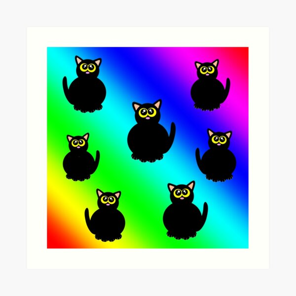 Fat black kitties on rainbow! Art Print