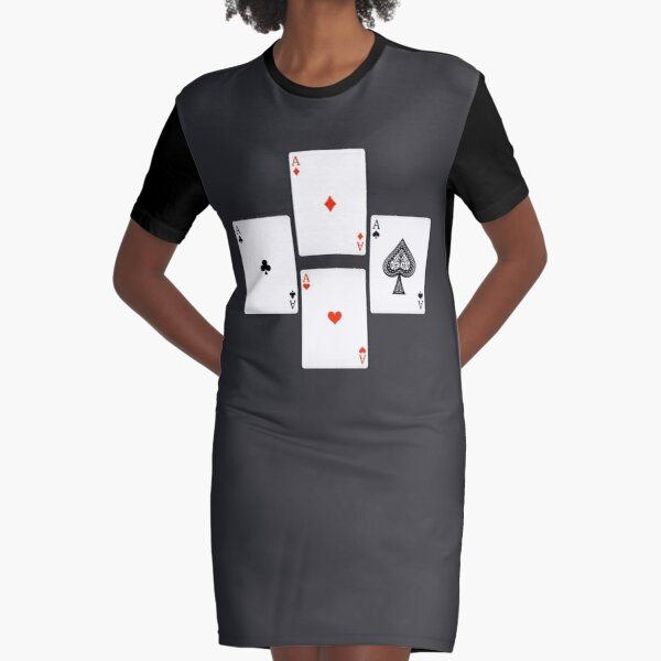 4 aces playing cards Graphic T-Shirt Dress