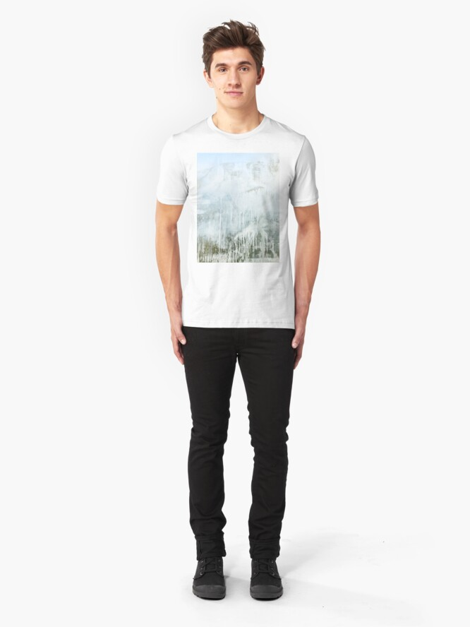Alternate view of Dirty window glass close up at street Slim Fit T-Shirt