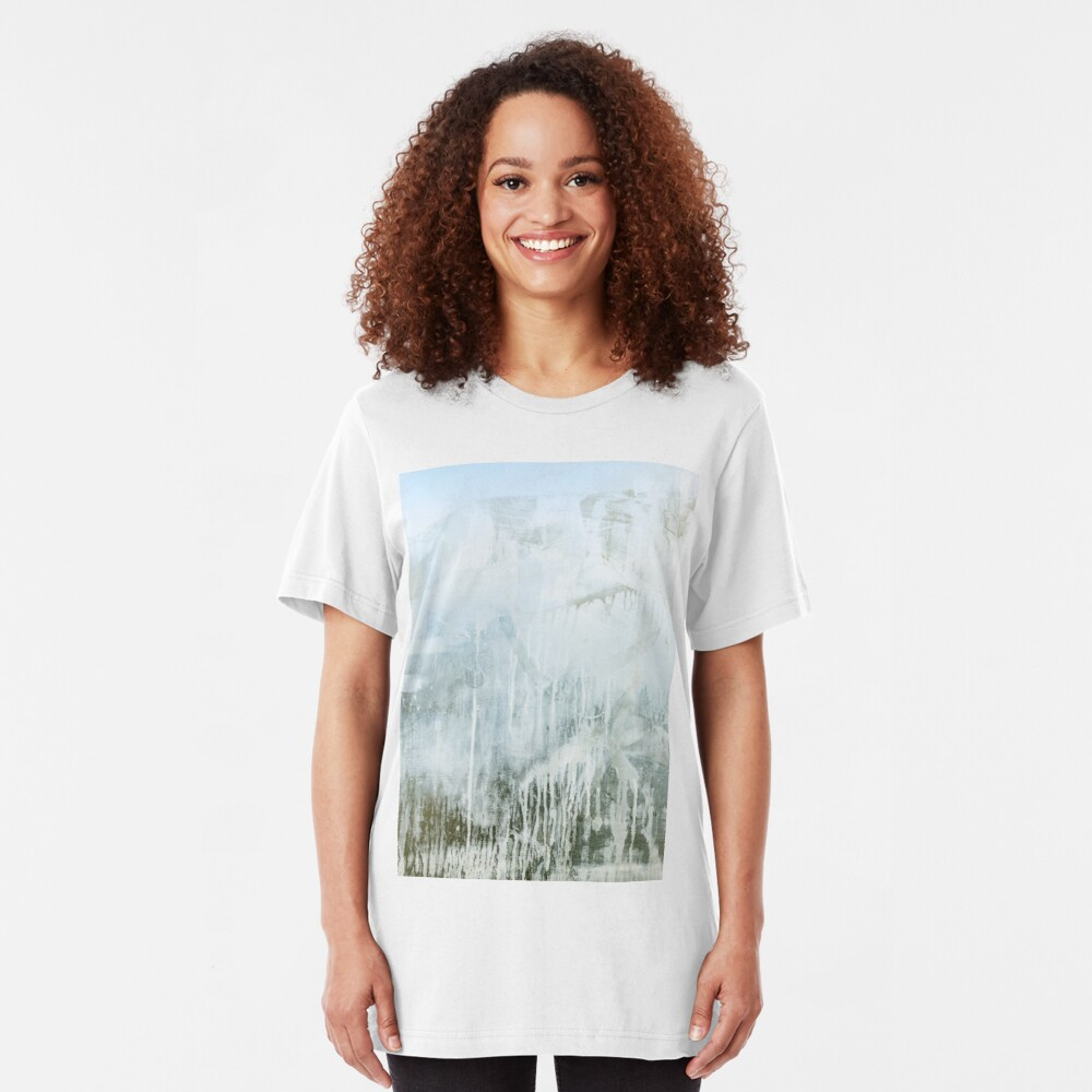 Dirty window glass close up at street Slim Fit T-Shirt