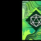 Green Glitch Polyhedral D20 Würfel Tabletop RPG von pixeptional