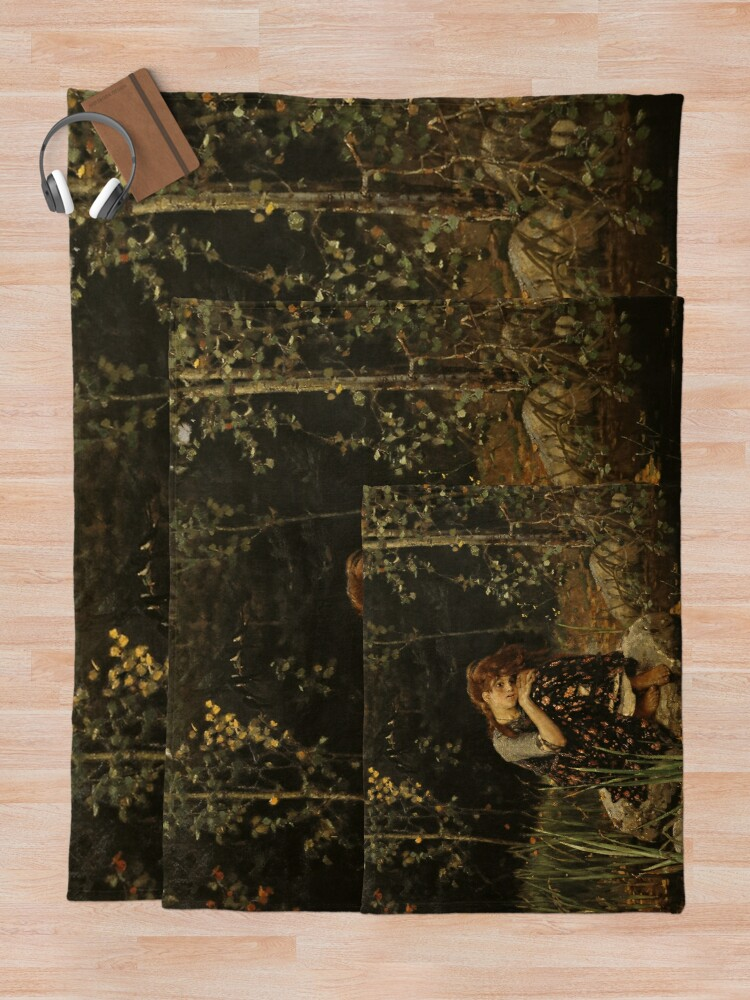 Alternate view of Виктор Васнецов, Алёнушка. 1881, Холст, масло. 173 × 121 см, Государственная Третьяковская галерея, Москва, Russia Throw Blanket