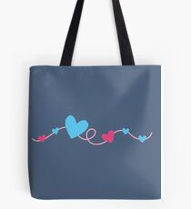 Hearts on a curly line Tote Bag
