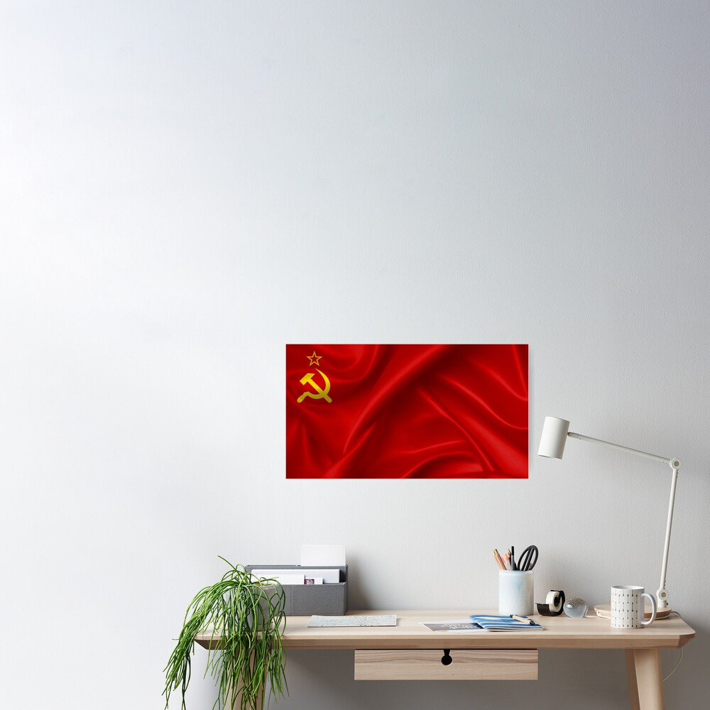 #Flag of the Soviet Union, Soviet Popular #Pictures, #Red Satin #SovietUnion Poster