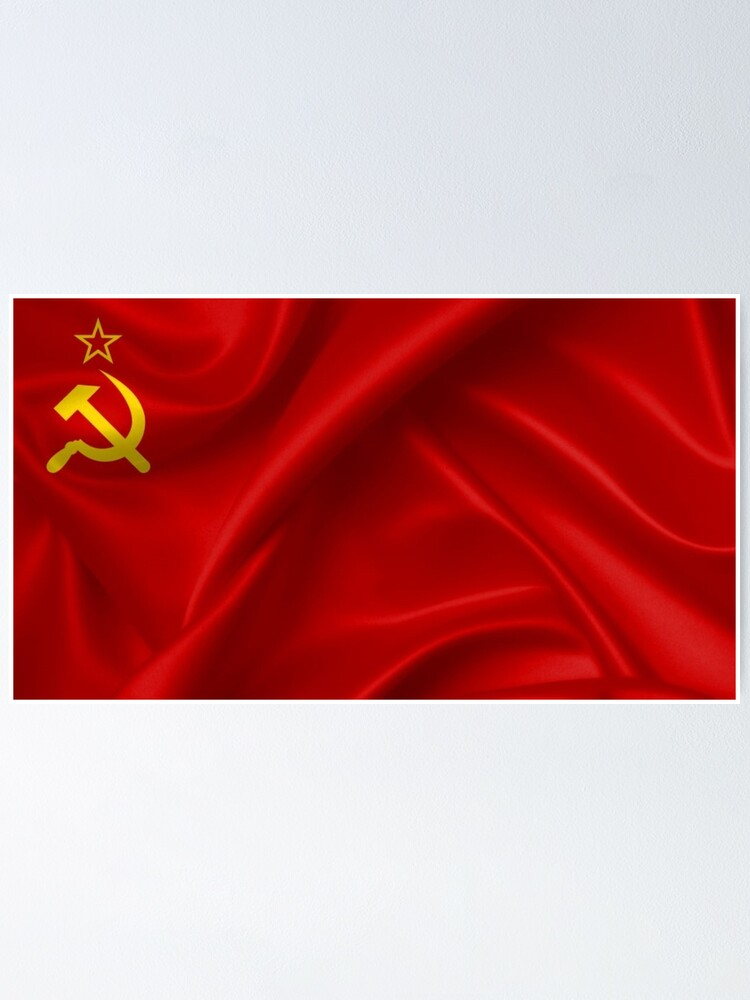 Alternate view of #Flag of the Soviet Union, Soviet Popular #Pictures, #Red Satin #SovietUnion Poster