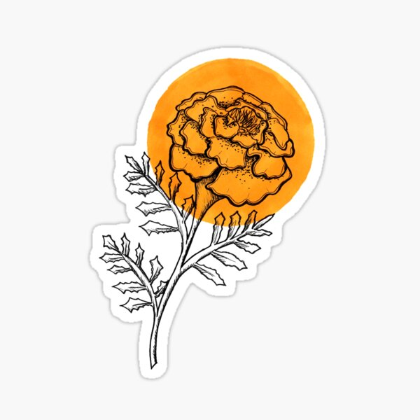 Bright Sunny Marigold Flower Sticker