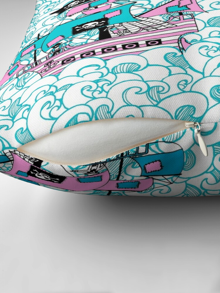 Alternate view of Pretty Pirates // Pirate ships on stormy oceans. Throw Pillow