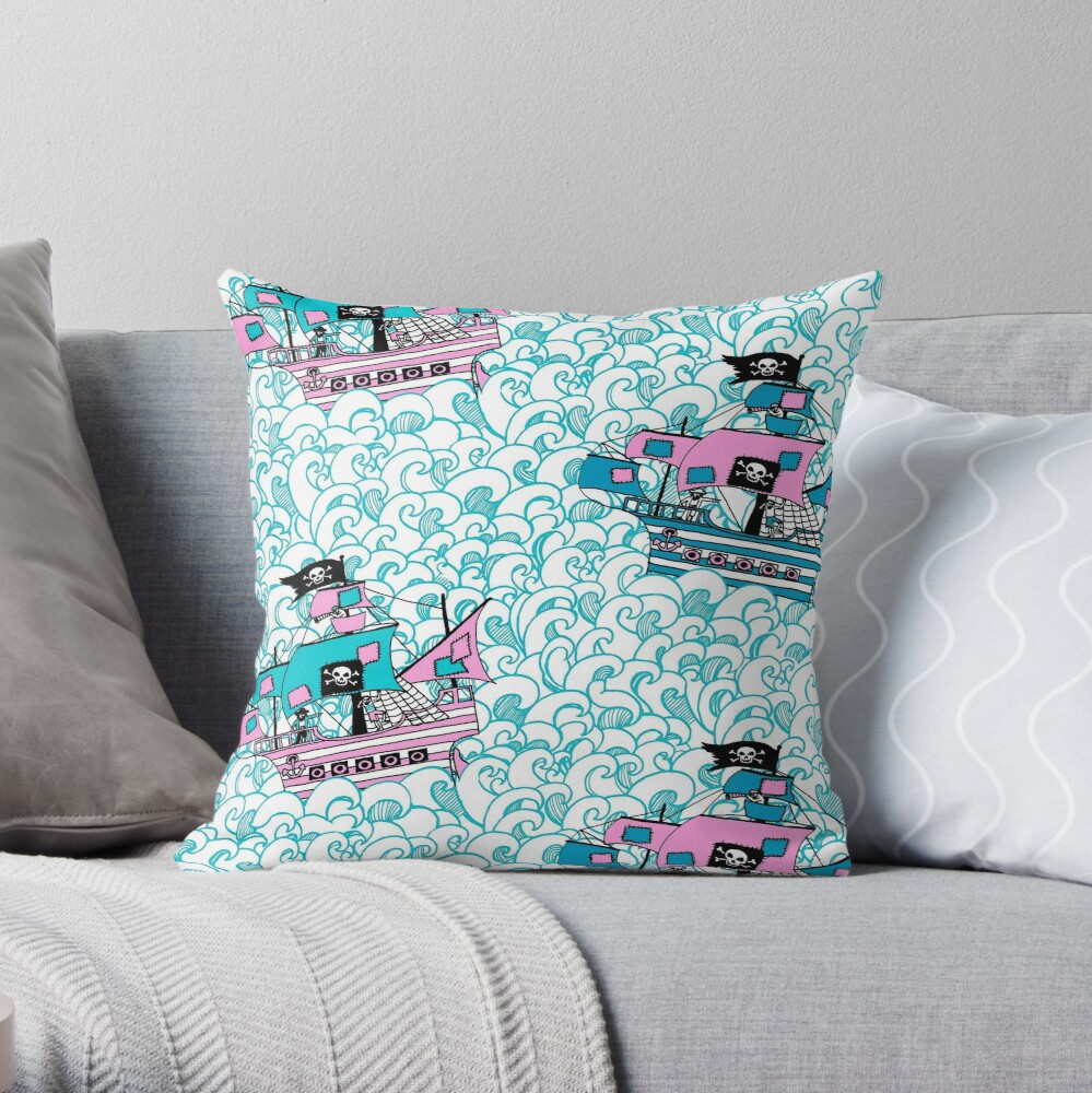 Pretty Pirates // Pirate ships on stormy oceans. Throw Pillow